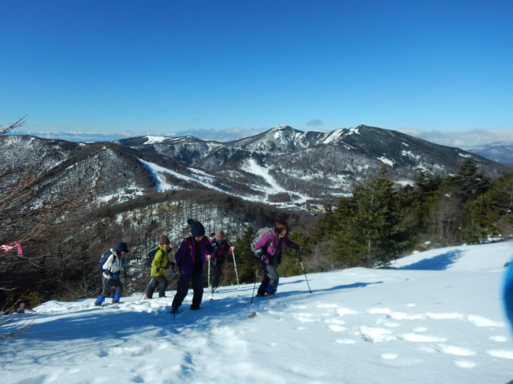快晴の黒斑山雪山登山