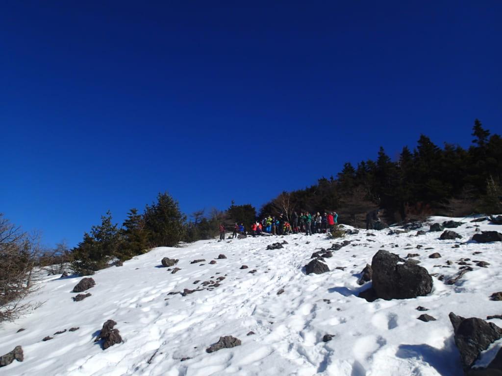 黒斑山雪山登山快晴!